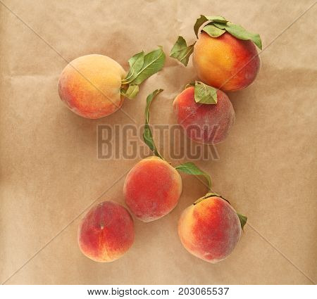 Overhead of fresh ripe peaches with copy space