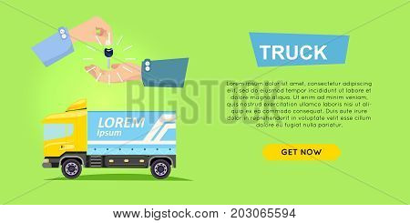 Rebting truck online car sale web banner vector illustration. Encouraging people to buy truck. Transport advertising company e-commerce concept. Business agreement of getting new keys of truck.