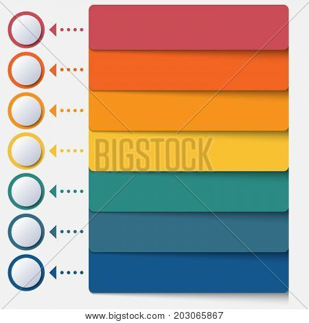 Template infographic color strips for 7 positions