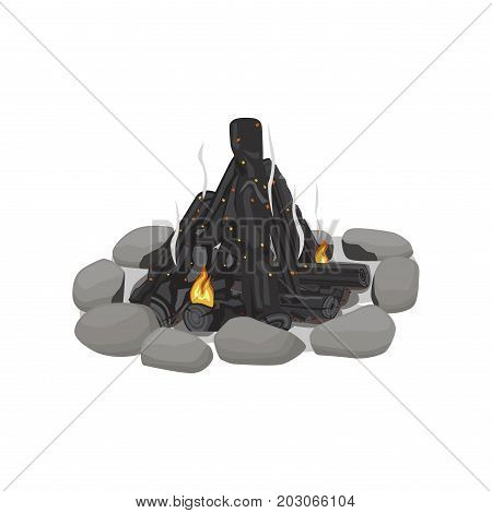 Smoldering bonfire lined with stones on white background. Black and grey color picture of firewood with small bright red flames. After outdoor pastime on nature. Isolated vector illustration.
