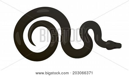 Curved slither python top view icon. Creeping glossy black tropical snake vector isolated on white background. Crawling poisonous reptile illustration for wild nature concepts, zoo ad