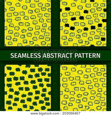 Abstract green and yellow seamless patterns set. Lines nets vector background collection.