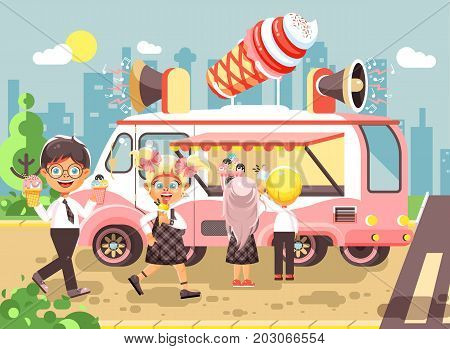 Stock vector illustration cartoon characters children, pupils, schoolboys and schoolgirls buy ice cream, vanilla, chocolate, popsicles from car, meals on wheels, street food, school snack flat style