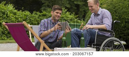 Male friends spending time together at fresh air