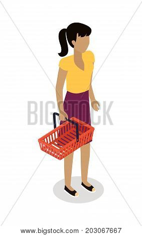 Woman standing with empty shopping basket isometric vector. Shopping daily products concept isolated on white background. Brunet female character template make purchases in supermarket icon