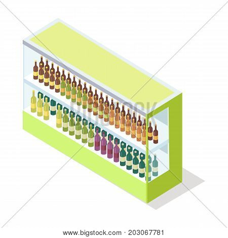 Wine in shop showcase isometric vector illustration. Alcoholic drinks on supermarket shelves 3d model isolated on white background. Grocery store equipment isometry for games, apps, icons, web design