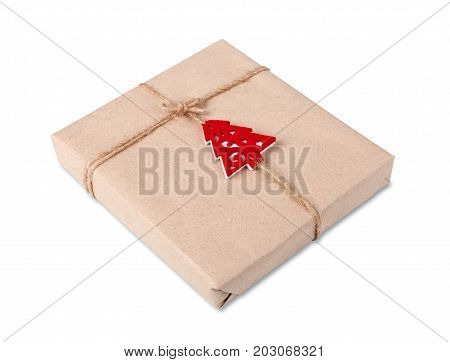 Gift box or mail parcels group, post delivery wrapped with kraft paper and twine, decorated with red toy christmas tree isolated on white background. Craft present for winter holidays poster