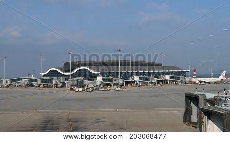 LANTAU,  HONG KONG--Hong Kong International Airport North Satellite Concourse connects to the Terminal 1. Photo taken in December 2016.