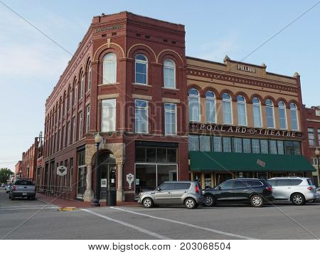 GUTHRIE, OKLAHOMA--AUGUST 2015: Front view of the Pollard Theatre, street corner, at the Guthrie Historic District. The Pollard Theatre produces a wide variety of theater shows.