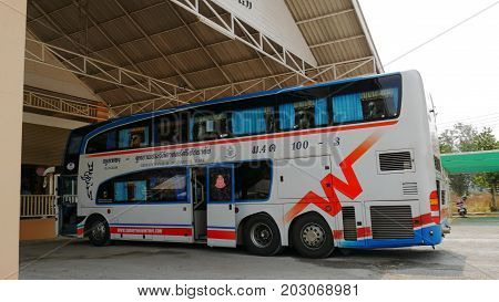 THAILAND--A northbound double decker passenger bus makes a lunch stopover at one of the restaurants before heading to Sukhothai City from Bangkok in March 2016.