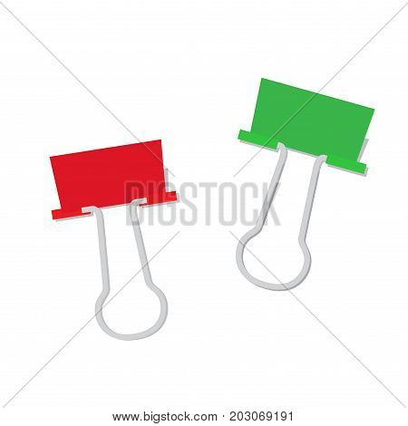 Metal paper clip of red and green color isolated on white background. Attach symbol realistic vector illustration. Fastener to hold papers together, fix accessory in flat design, attachment element