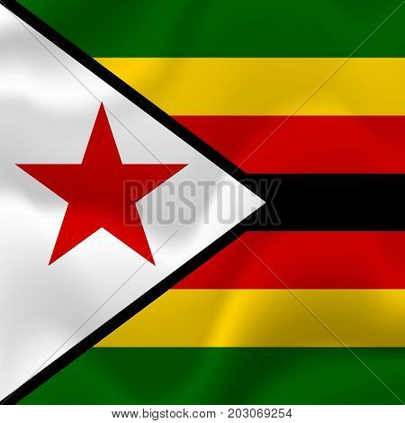 Zimbabwe waving flag. Waving flag. Vector illustration.