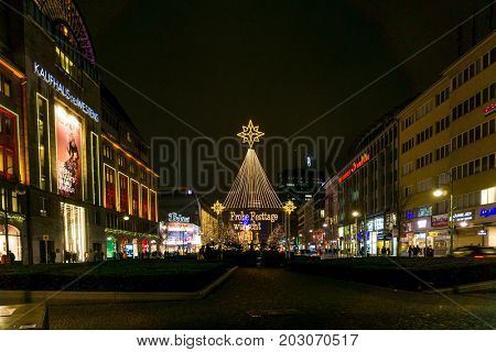 BERLIN, GERMANY - DECEMBER 23, 2016: Beautiful decorated booths and christmas lights at Gendarmenmarkt Christmas Market.