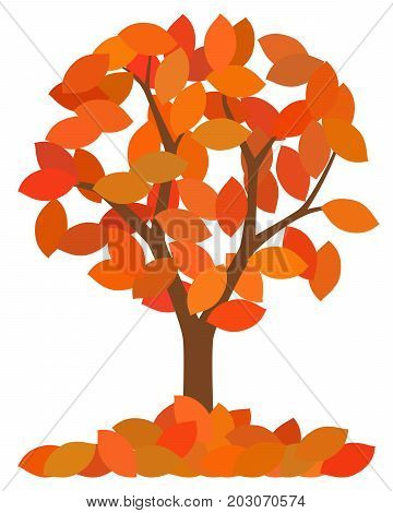 isolated autumn tree with fallen leaves on white background vector illustration