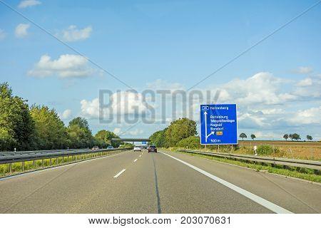 Freeway Road Sign On Autobahn A81, Herrenberg - Rottenburg