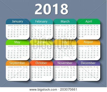 Calendar 2018 year vector design template. EPS10