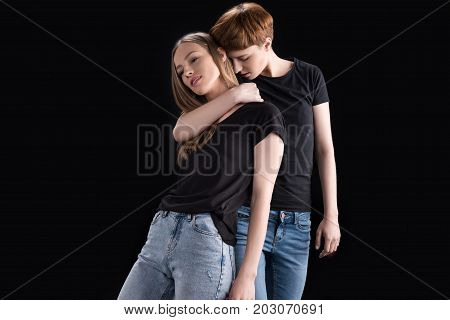 Woman Embracing Girlfriend From Back