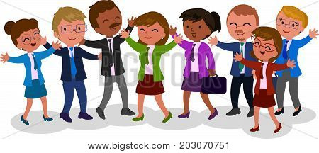 Happy successful exulting business people vector illustration