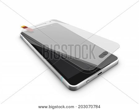 Cellular Phoneprotection Glass Screen, 3D Illustration On White Background
