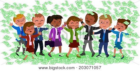 Rich business teamwork with a lot of dollar notes on white background, vector illustration