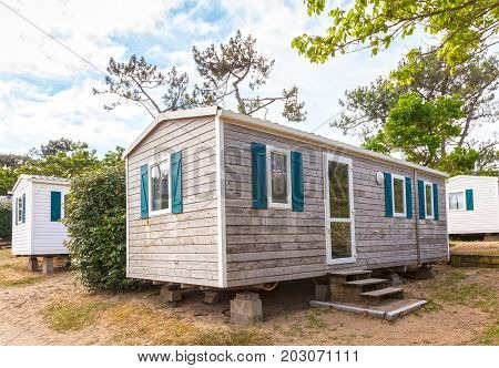 Summer vacation homes on a camping site