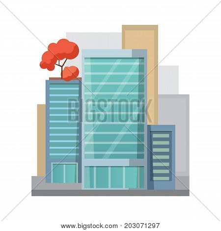 Retro Flat city House Icon. town building or private residential. modern apartment isolated vector