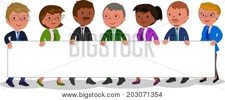 Teamwork business people with blank space vector illustration