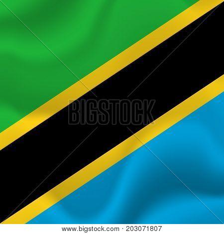 Tanzania waving flag. Waving flag. Vector illustration.