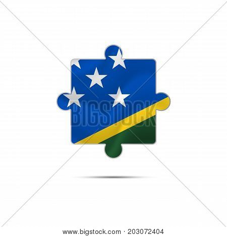 Isolated piece of puzzle with the Solomon Islands flag. Vector illustration.