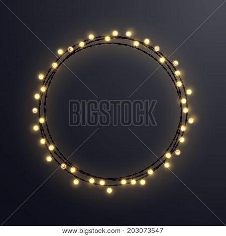 Warm colored vector light string Christmas wreath made of incandescent lamps. Vector illustration.