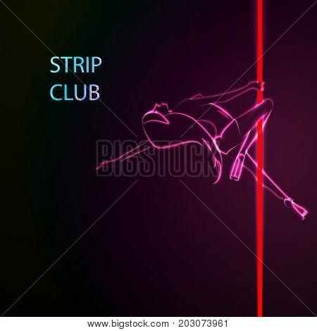 Vector illustration of a strip club concept, neon girl.