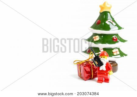 Lego Santa Claus Minifigure With Christmas Scene On White  Background