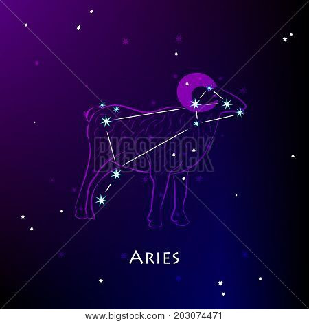 Aries Zodiac Sign and the Constellation against a dark starry sky. Vector illustration on a black background