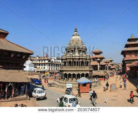 KATHMANDU, NEPAL - JAN 28: Top view of the Durbar Square (Basantapur), Jan 28, 2009 in Kathmandu, Nepal. All of which are included in UNESCO.