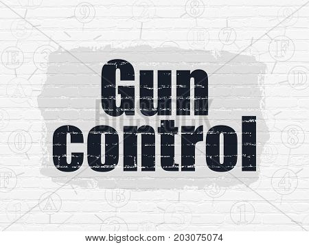 Protection concept: Painted black text Gun Control on White Brick wall background with Scheme Of Hexadecimal Code