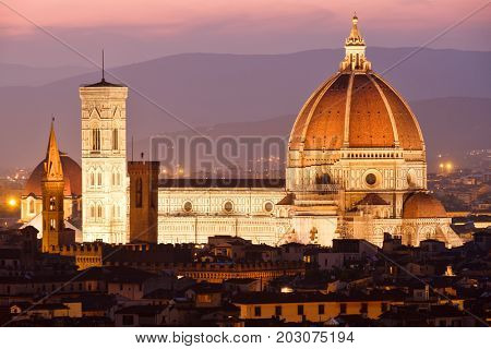 The Cathedral of Florence illuminated at sunset