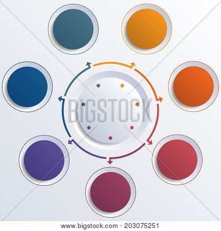 Template infographic color circles round circle for 7 positions