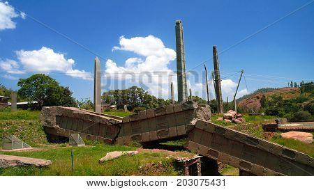 Tombstones aka Axum steles at Tigray, northern Ethiopia