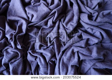 Subdued Violet Blue Stockinet Fabric In Folds