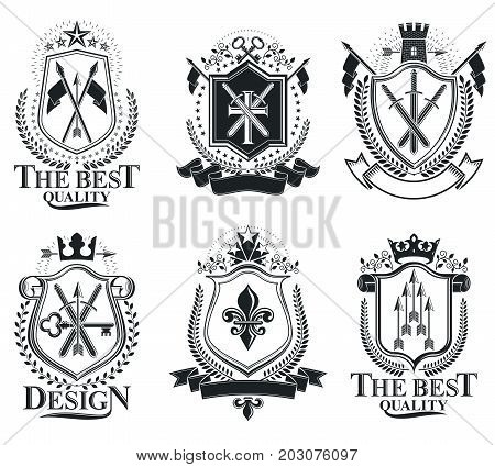 Retro vintage Insignias. Vector design elements. Coat of Arms collection vector set.