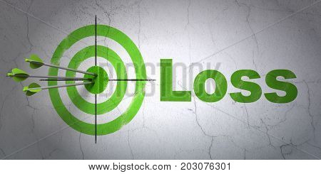 Success business concept: arrows hitting the center of target, Green Loss on wall background, 3D rendering