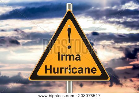 Hurricane Irma road sign concept 3D rendering
