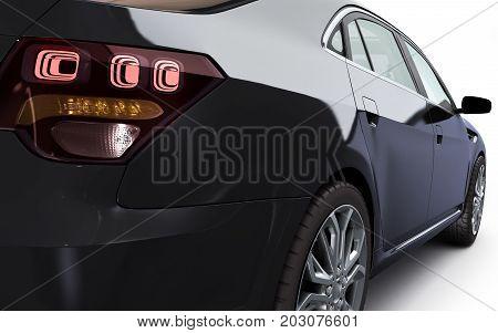 Lack Car Studio View 3D Render On White Background