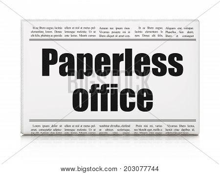 Finance concept: newspaper headline Paperless Office on White background, 3D rendering