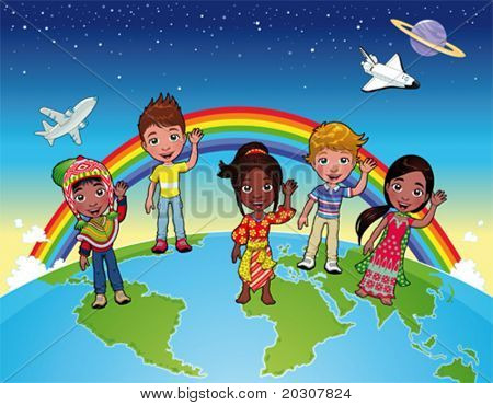 Children on the world. Cartoon and vector illustration with isolated characters and items.