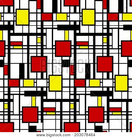 Seamless geometric pattern in modern mondrian style