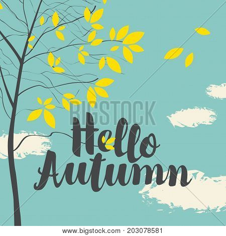 Vector banner with the inscription Hello autumn. Autumn landscape with yellow leaves on the branches of trees in a Park or forest on a background of blue sky with clouds