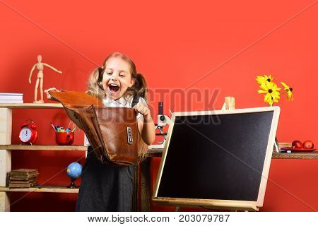 Schoolgirl With Happy Face And Ponytails Holds Open Schoolbag