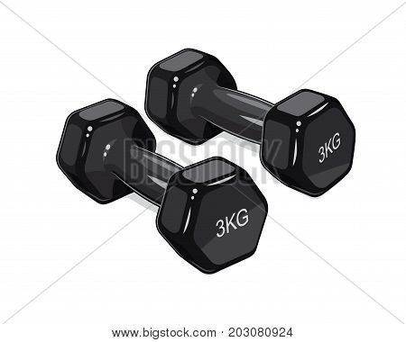 Black dumbbells for fitness. Sports inventory. Barbells. Bodybuilding gym equipment. Isolated white background. Vector illustration.