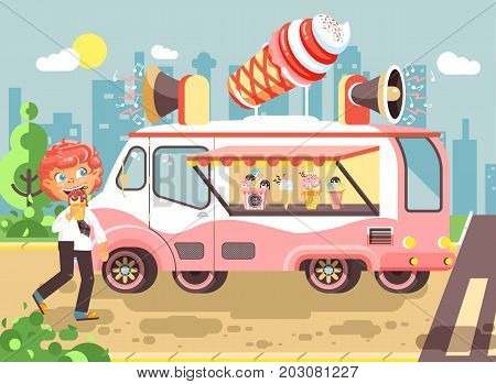 Stock vector illustration cartoon character child, pupil, schoolboy lonely redhead boy buy eat ice cream, vanilla, chocolate, popsicles from car, meals on wheels, street food, school snack flat style